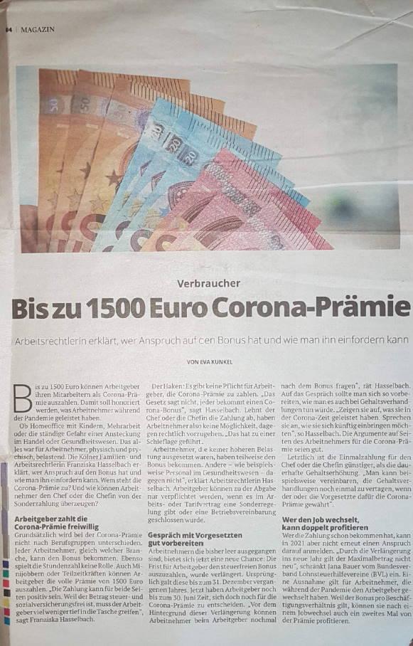 Bis zu 1500 Euro Corona-Prämie - Franziska Hasselbach im Kölner Stadtanzeiger